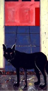 Joan Brown, Wolf in Studio, 1972. Enamel on Masonite.